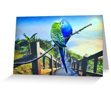 love birds and majestic landscape 3 Greeting Card