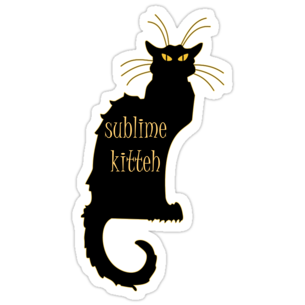 sublime black french kitty cat black Art Nouveau by Tia Knight