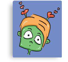 confused love alien cartoon Canvas Print
