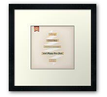 Grunge Christmas And Happy New Year On Ribbon Framed Print
