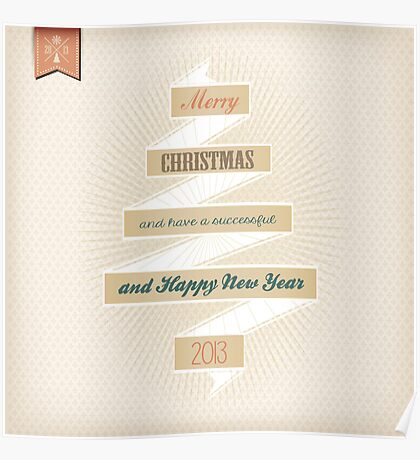 Grunge Christmas And Happy New Year On Ribbon Poster