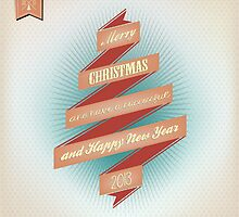 Vintage Grunge Christmas And Happy New Year On Red Ribbon by csecsi