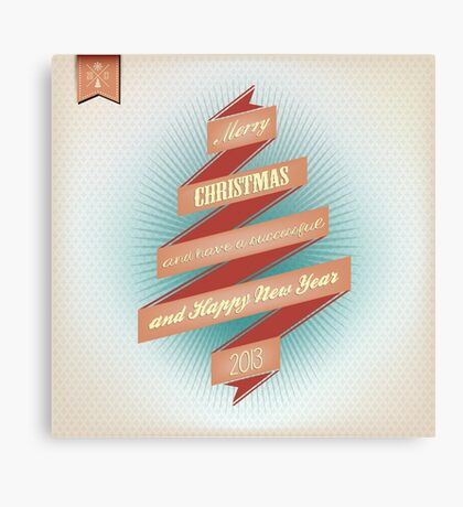 Vintage Grunge Christmas And Happy New Year On Red Ribbon Canvas Print