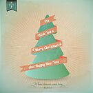 Vintage Grunge Christmas Tree With Red Ribbon by csecsi