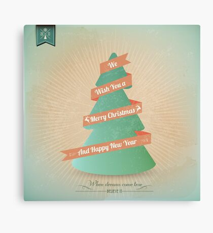 Vintage Grunge Christmas Tree With Red Ribbon Canvas Print