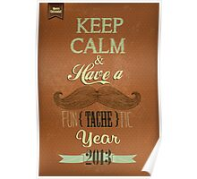 Vintage Happy New Year Calligraphic And Typographic Background Poster
