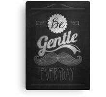 Vintage Mustache Calligraphic And Typographic Background With Chalk Word Art On Blackboard Canvas Print
