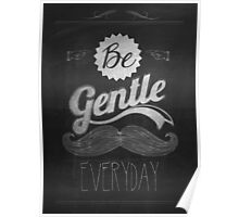 Vintage Mustache Calligraphic And Typographic Background With Chalk Word Art On Blackboard Poster