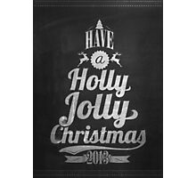 Vintage Merry Christmas And Happy New Year Calligraphic And Typographic Background With Chalk Word Art On Blackboard Photographic Print