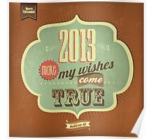 Vintage Merry Christmas And Happy New Year Calligraphic And Typographic Background Poster