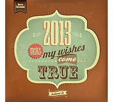Vintage Merry Christmas And Happy New Year Calligraphic And Typographic Background Photographic Print
