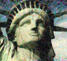 Statue of liberty face close up pointoism by Adam Asar