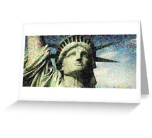 Statue of liberty face close up pointoism Greeting Card