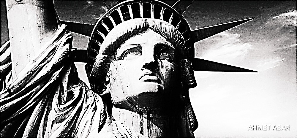 Statue of liberty face close up silver by Adam Asar