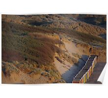 Saunton Sands - Beach Huts and Burrows in Evening Poster