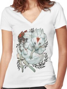 Wolf Child Women's Fitted V-Neck T-Shirt