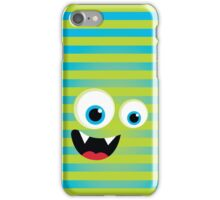 IPhone :: monster face laughing STRIPES - green lime + aqua blue iPhone Case/Skin