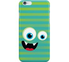 IPhone :: monster face laughing STRIPES - lime + jade green iPhone Case/Skin