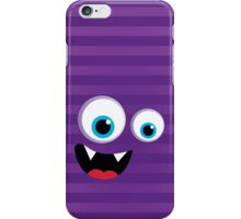 IPhone :: monster face laughing STRIPES - purple + violet iPhone Case/Skin
