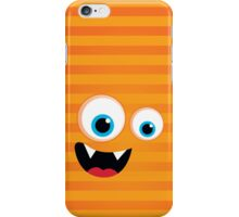 IPhone :: monster face laughing STRIPES - orange iPhone Case/Skin