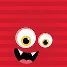 IPhone :: monster face laughing STRIPES - red by Kat Massard
