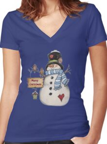 Merry Christmas Snowman Women's Fitted V-Neck T-Shirt