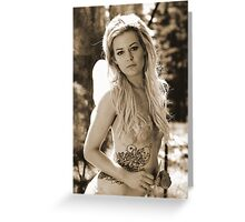 If you go down to the woods, watch for fairies and nymphs.. (sepia) Greeting Card