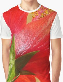 Back View of A Beautiful Bright Red Hibiscus Flower Graphic T-Shirt