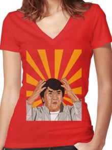 Jackie Chan Meme  Women's Fitted V-Neck T-Shirt
