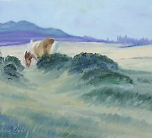 Dartmoor Pony with Tor - oil painting by Lawrence Dyer