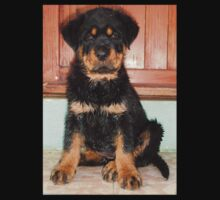 A Discontented and Wet Rottweiler Puppy  Kids Tee