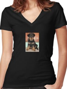A Discontented and Wet Rottweiler Puppy  Women's Fitted V-Neck T-Shirt