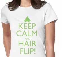 Discreetly Greek - Keep Calm and Hair Flip! Womens Fitted T-Shirt