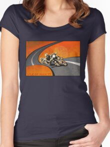 retro motorcycle Isle of Man TT poster Women's Fitted Scoop T-Shirt
