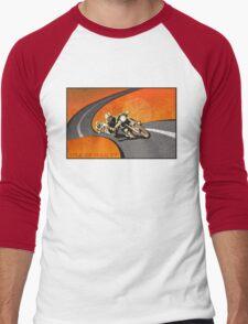 retro motorcycle Isle of Man TT poster Men's Baseball ¾ T-Shirt
