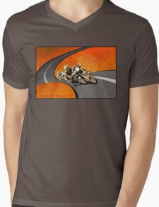 retro motorcycle Isle of Man TT poster Mens V-Neck T-Shirt