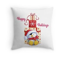 Happy Holidays Penguin Throw Pillow