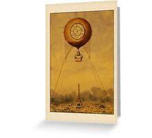 Vintage Hot Air Balloon with Clock Greetings Greeting Card