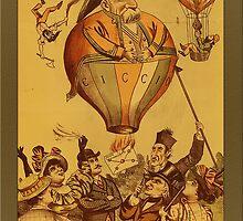 Vintage Old Man Hot Air Balloon Greetings by Yesteryears