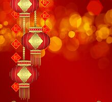 Chinese New Year - Year Of The Snake With Lanterns & Banners by Moonlake