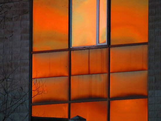 Cold sunset reflected in windows by Alex Call