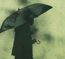 Boy in a rainy day Sticker