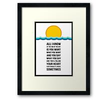 end of the day one direction lyric poster black  Framed Print