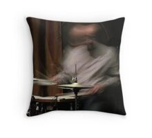 Drummer in motion Throw Pillow