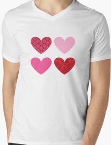 DAMASK HEARTS QUAD PATTERN red & pink Mens V-Neck T-Shirt