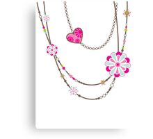 NECKLACE :: funky flowers chain bright colourful Canvas Print