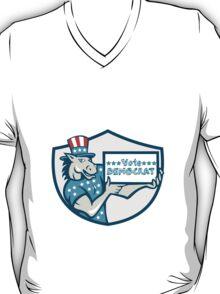 Vote Democrat Donkey Mascot Shield Cartoon T-Shirt