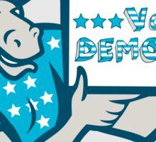 Vote Democrat Donkey Mascot Shield Cartoon Sticker