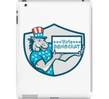 Vote Democrat Donkey Mascot Shield Cartoon iPad Case/Skin