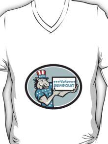 Vote Democrat Donkey Mascot Oval Cartoon T-Shirt